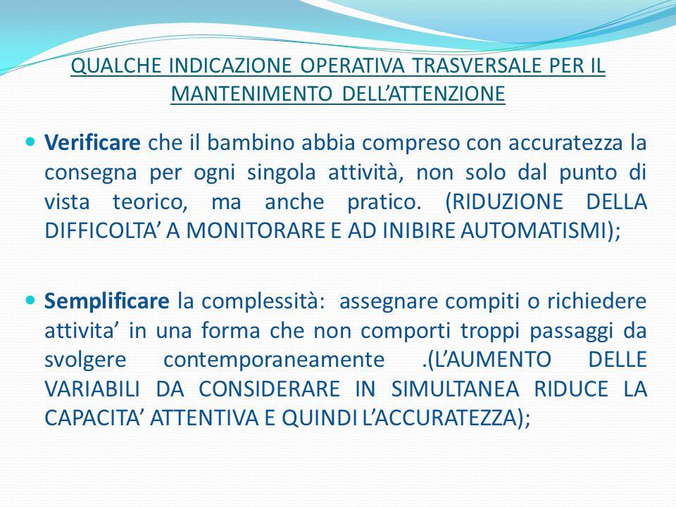 QUALCHE INDICAZIONE OPERATIVA TRASVERSALE PER IL MANTENIMENTO DELL'ATTENZIONE