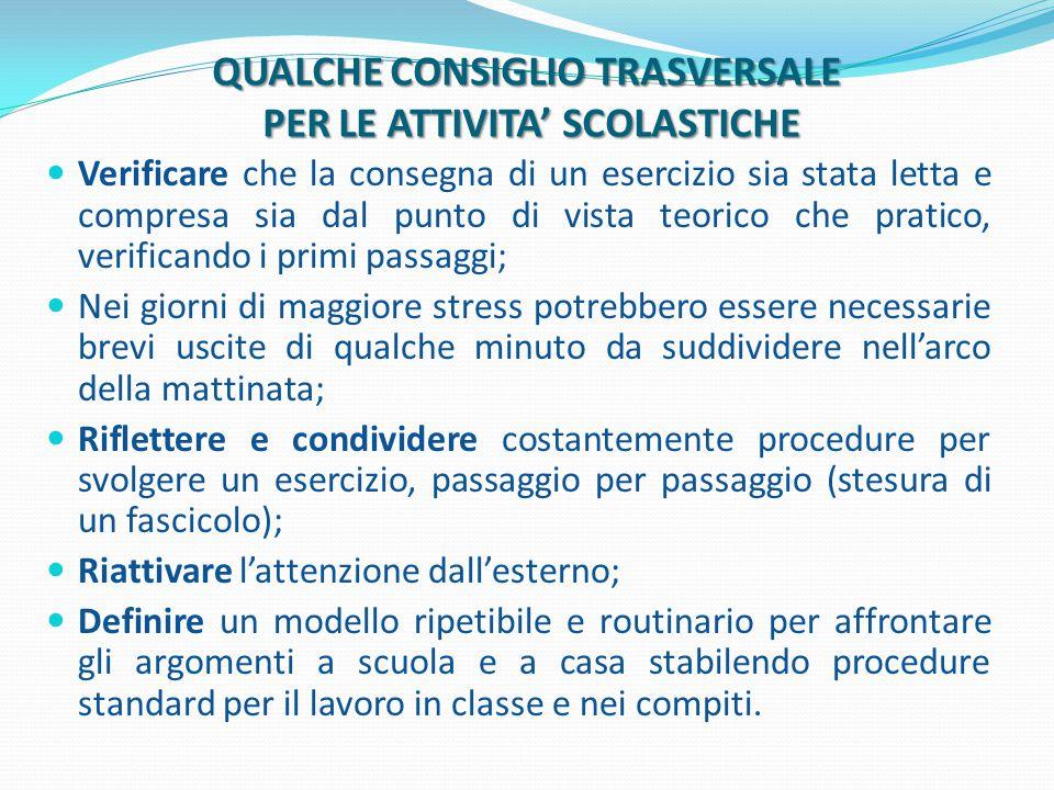 QUALCHE CONSIGLIO TRASVERSALE PER LE ATTIVITA' SCOLASTICHE
