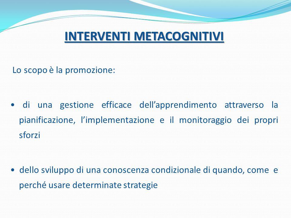 INTERVENTI METACOGNITIVI