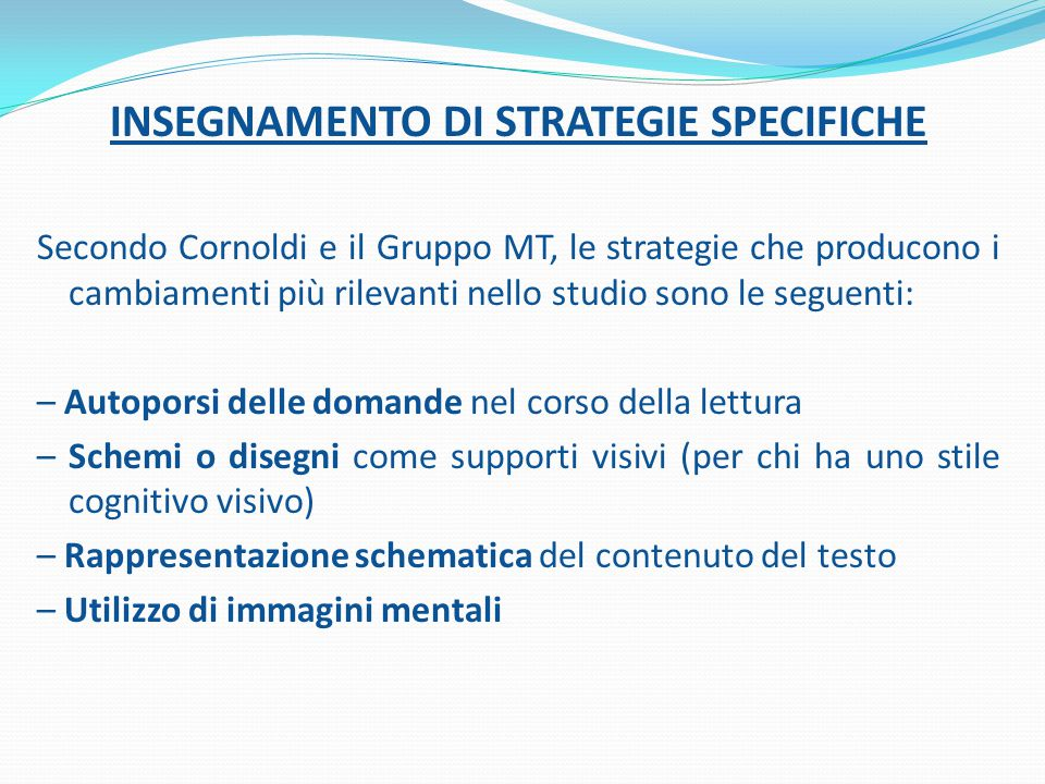 INSEGNAMENTO DI STRATEGIE SPECIFICHE