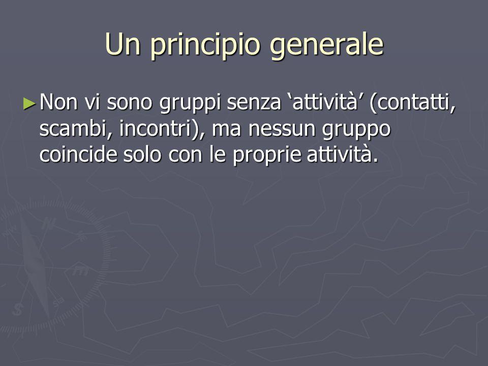 Un principio generale Non vi sono gruppi senza 'attività' (contatti, scambi, incontri), ma nessun gruppo coincide solo con le proprie attività.