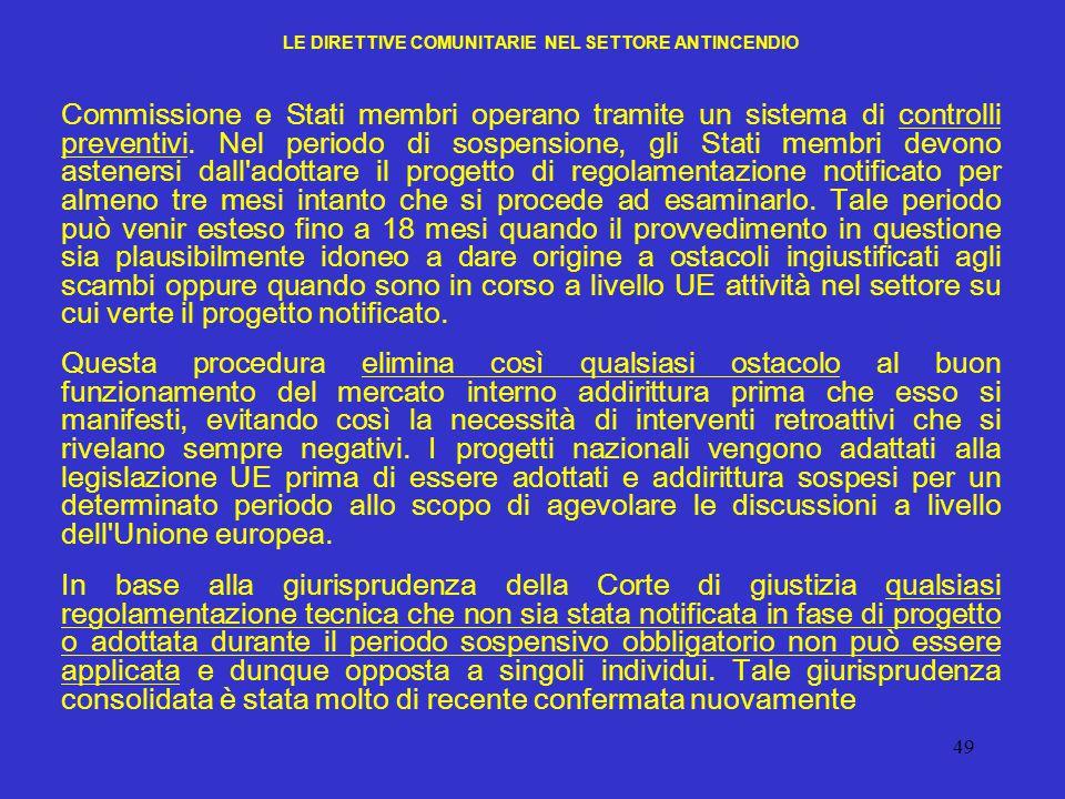 LE DIRETTIVE COMUNITARIE NEL SETTORE ANTINCENDIO
