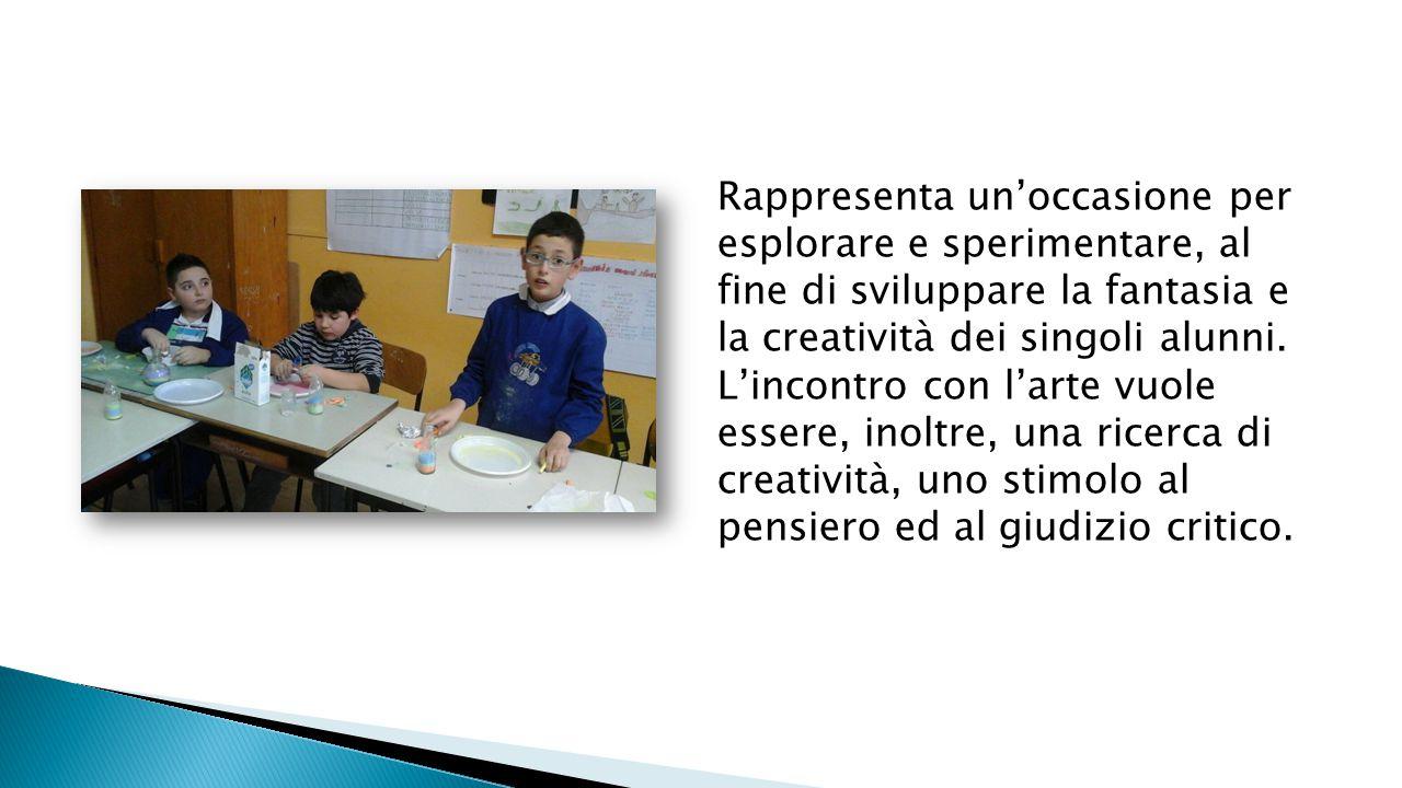 Rappresenta un'occasione per esplorare e sperimentare, al fine di sviluppare la fantasia e la creatività dei singoli alunni. L'incontro con l'arte vuole essere, inoltre, una ricerca di creatività, uno stimolo al pensiero ed al giudizio critico.