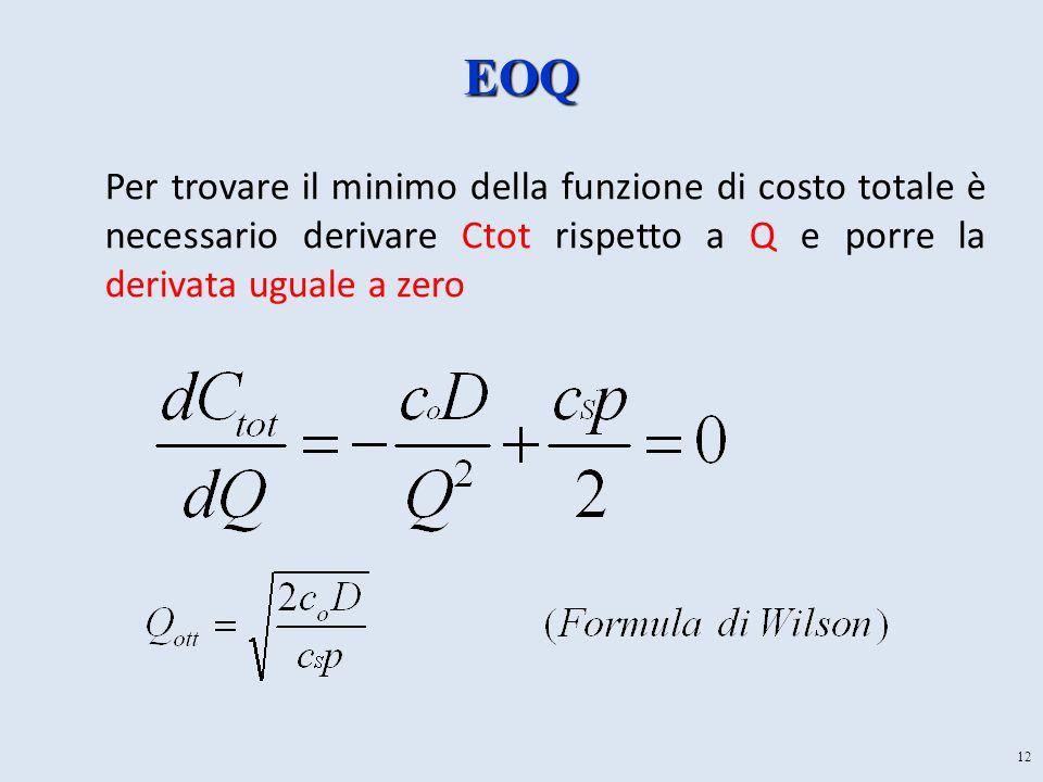 EOQ Per trovare il minimo della funzione di costo totale è necessario derivare Ctot rispetto a Q e porre la derivata uguale a zero.