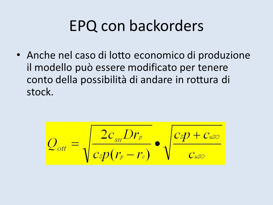 EPQ con backorders