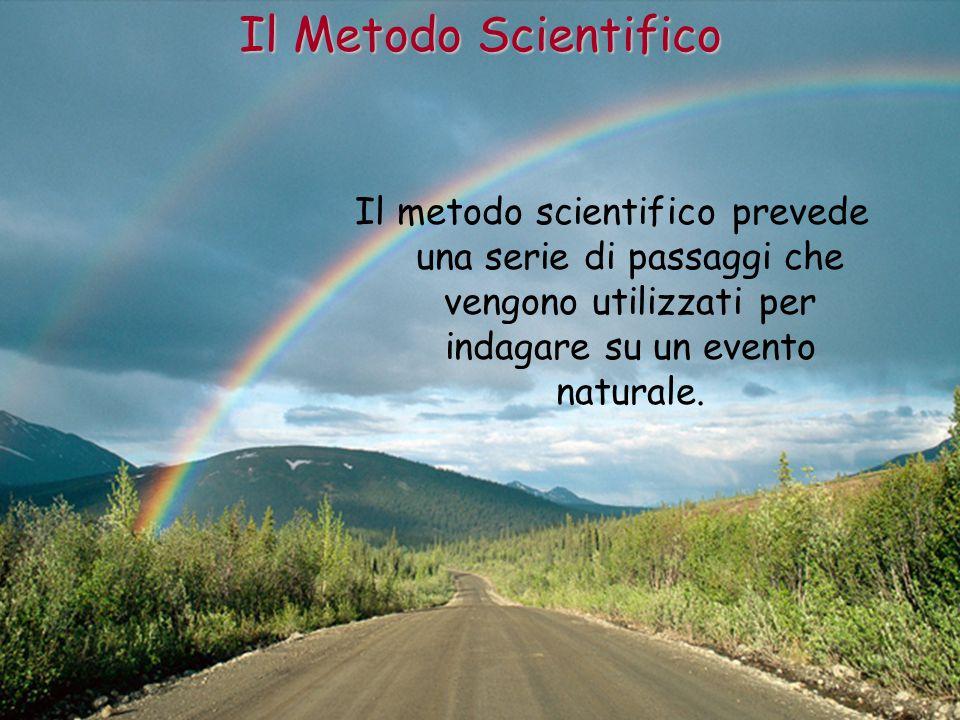Il Metodo Scientifico Il metodo scientifico prevede una serie di passaggi che vengono utilizzati per indagare su un evento naturale.