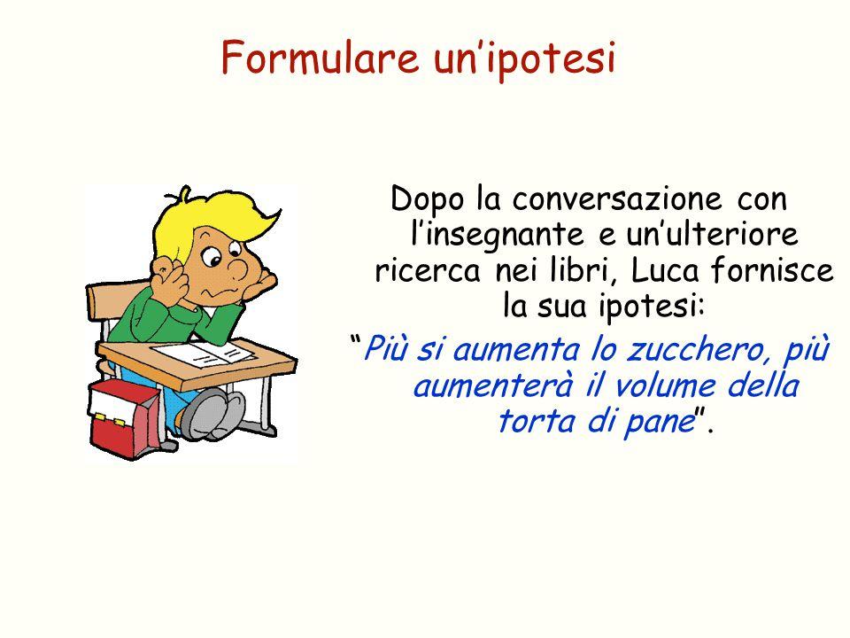 Formulare un'ipotesi Dopo la conversazione con l'insegnante e un'ulteriore ricerca nei libri, Luca fornisce la sua ipotesi: