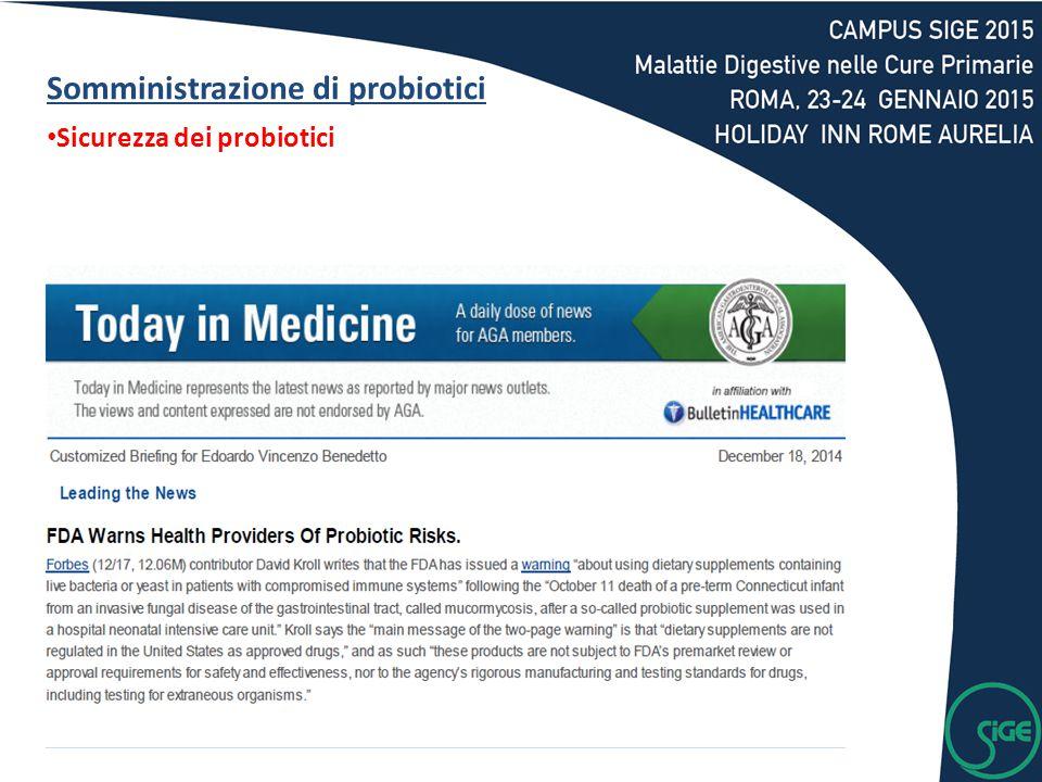 Somministrazione di probiotici