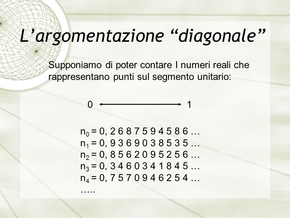L'argomentazione diagonale