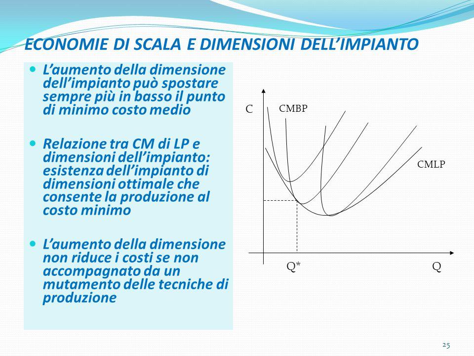 ECONOMIE DI SCALA E DIMENSIONI DELL'IMPIANTO