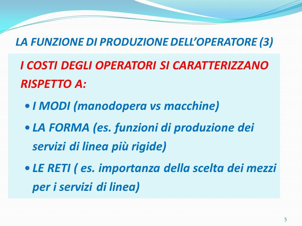 LA FUNZIONE DI PRODUZIONE DELL'OPERATORE (3)