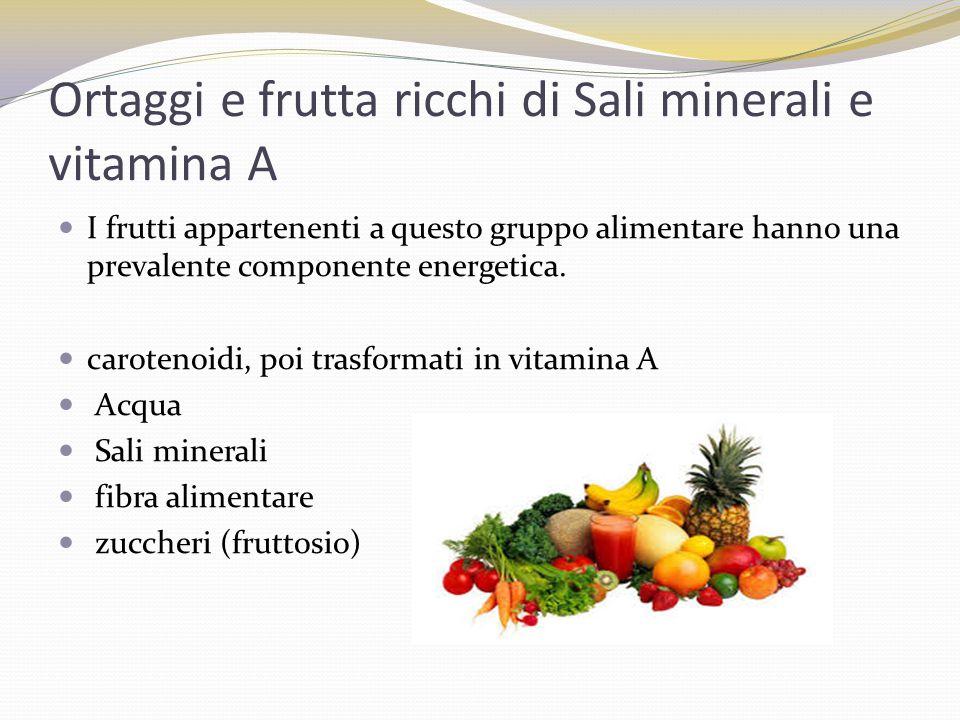 Ortaggi e frutta ricchi di Sali minerali e vitamina A