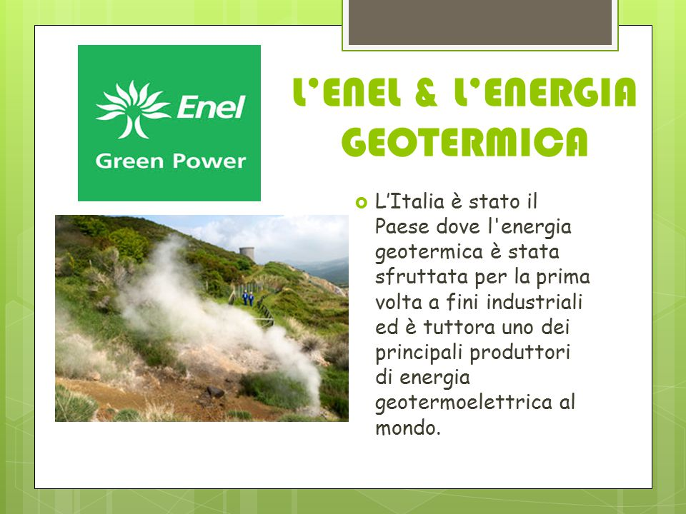 L'ENEL & L'ENERGIA GEOTERMICA