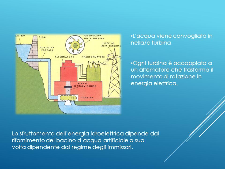 L acqua viene convogliata in nella/e turbina