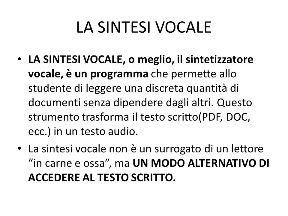 LA SINTESI VOCALE