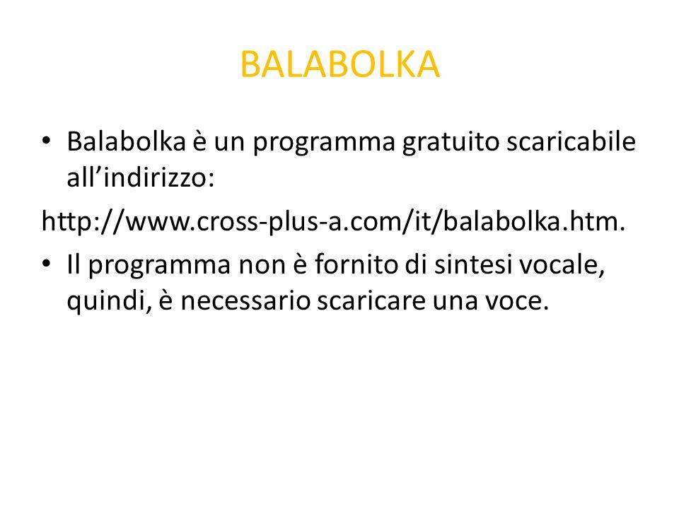 BALABOLKA Balabolka è un programma gratuito scaricabile all'indirizzo: