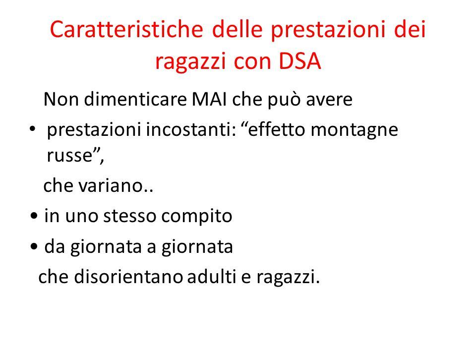 Caratteristiche delle prestazioni dei ragazzi con DSA