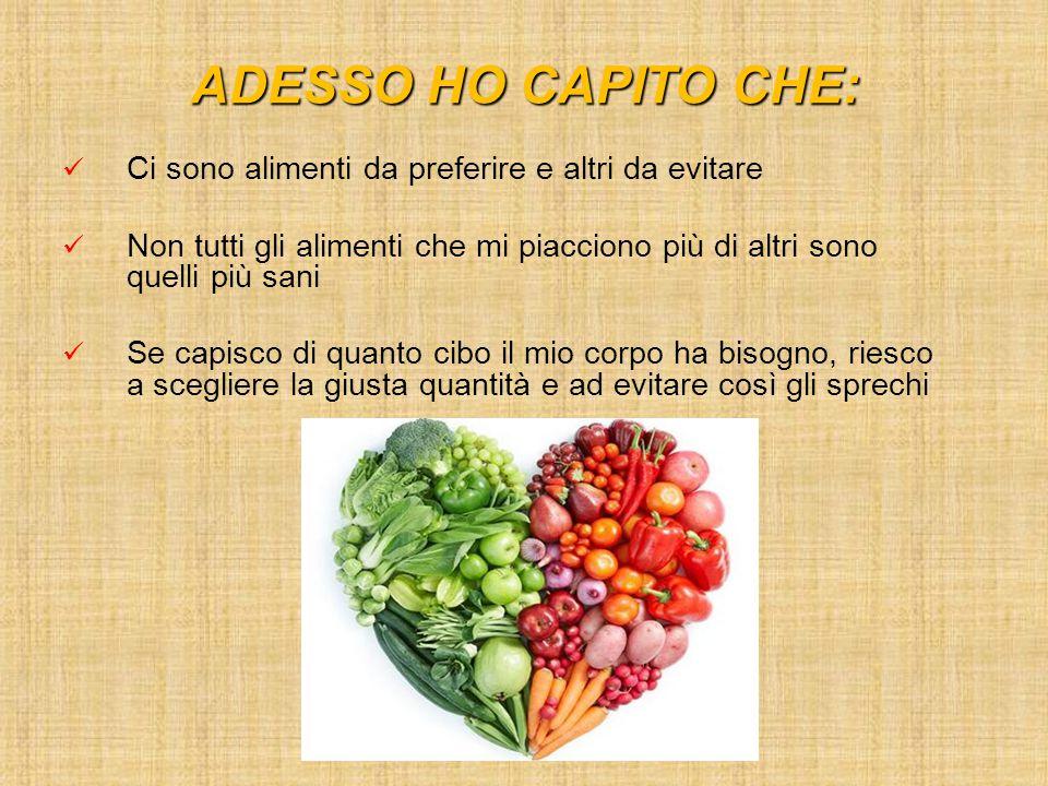 ADESSO HO CAPITO CHE: Ci sono alimenti da preferire e altri da evitare