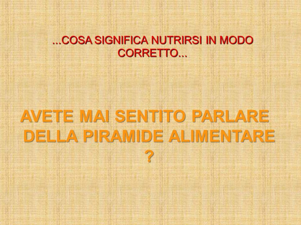 ...COSA SIGNIFICA NUTRIRSI IN MODO CORRETTO...
