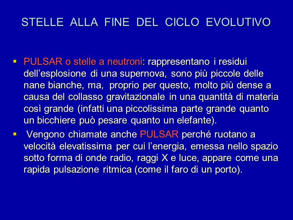 STELLE ALLA FINE DEL CICLO EVOLUTIVO