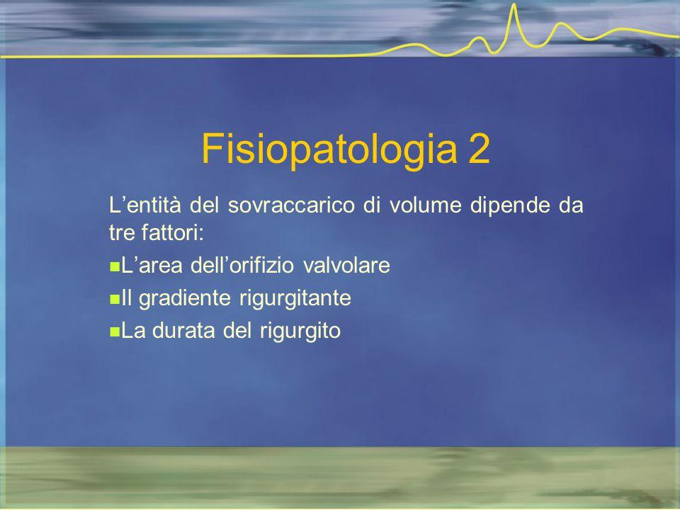 Fisiopatologia 2 L'entità del sovraccarico di volume dipende da tre fattori: L'area dell'orifizio valvolare.