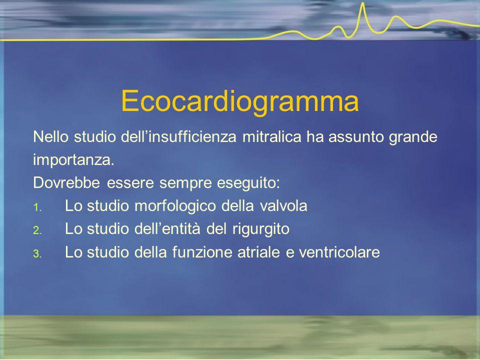Ecocardiogramma Nello studio dell'insufficienza mitralica ha assunto grande. importanza. Dovrebbe essere sempre eseguito: