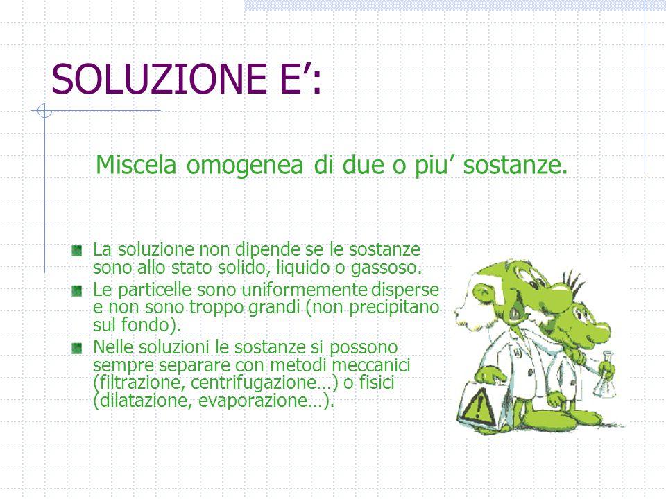 SOLUZIONE E': Miscela omogenea di due o piu' sostanze.