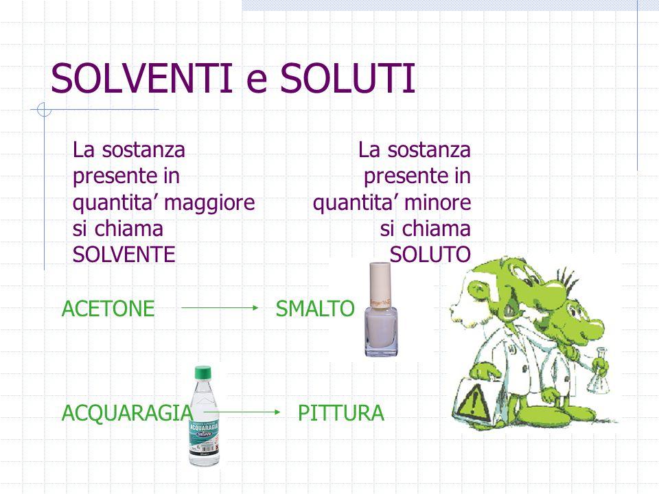 SOLVENTI e SOLUTI La sostanza presente in quantita' maggiore si chiama SOLVENTE. La sostanza presente in quantita' minore si chiama SOLUTO.