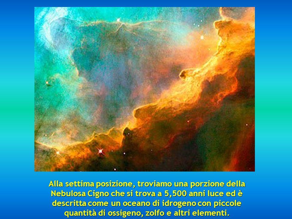 Alla settima posizione, troviamo una porzione della Nebulosa Cigno che si trova a 5,500 anni luce ed è descritta come un oceano di idrogeno con piccole quantità di ossigeno, zolfo e altri elementi.