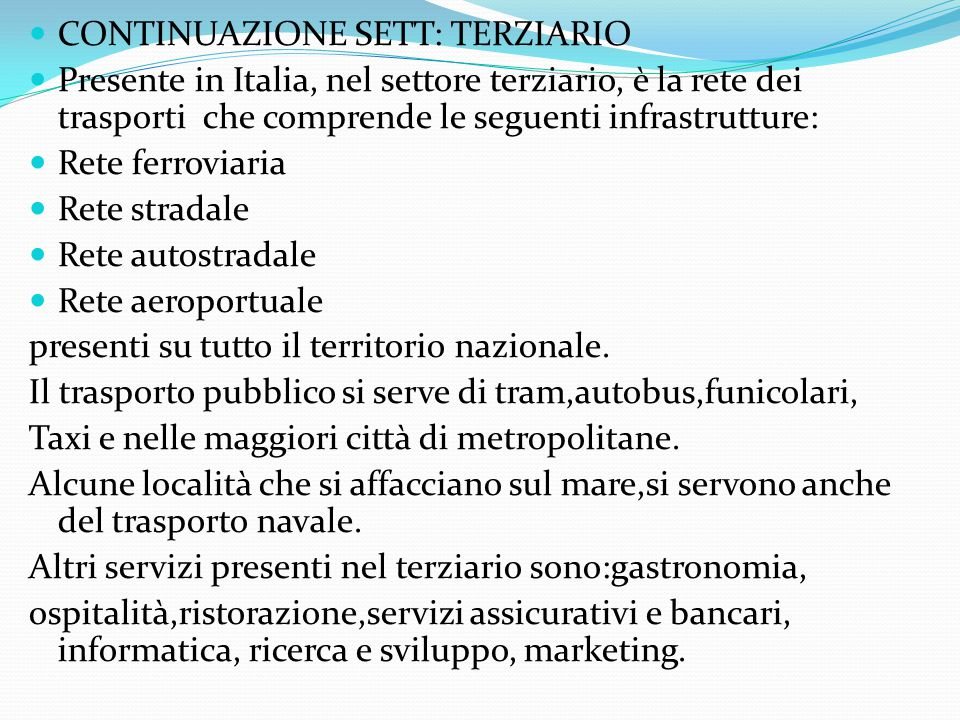 s CONTINUAZIONE SETT: TERZIARIO