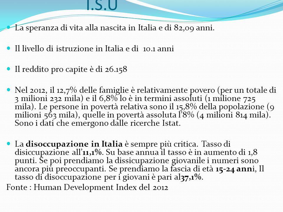 I.S.U La speranza di vita alla nascita in Italia e di 82,09 anni.