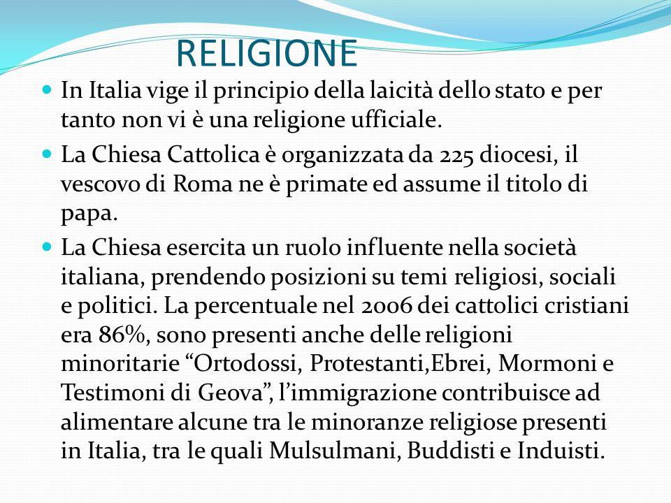 RELIGIONE In Italia vige il principio della laicità dello stato e per tanto non vi è una religione ufficiale.