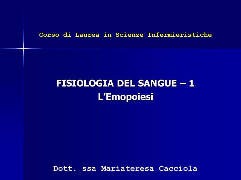 FISIOLOGIA DEL SANGUE – 1 L'Emopoiesi