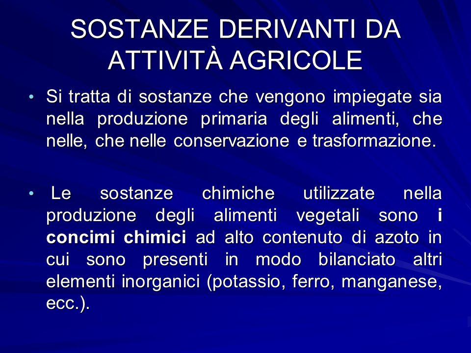SOSTANZE DERIVANTI DA ATTIVITÀ AGRICOLE