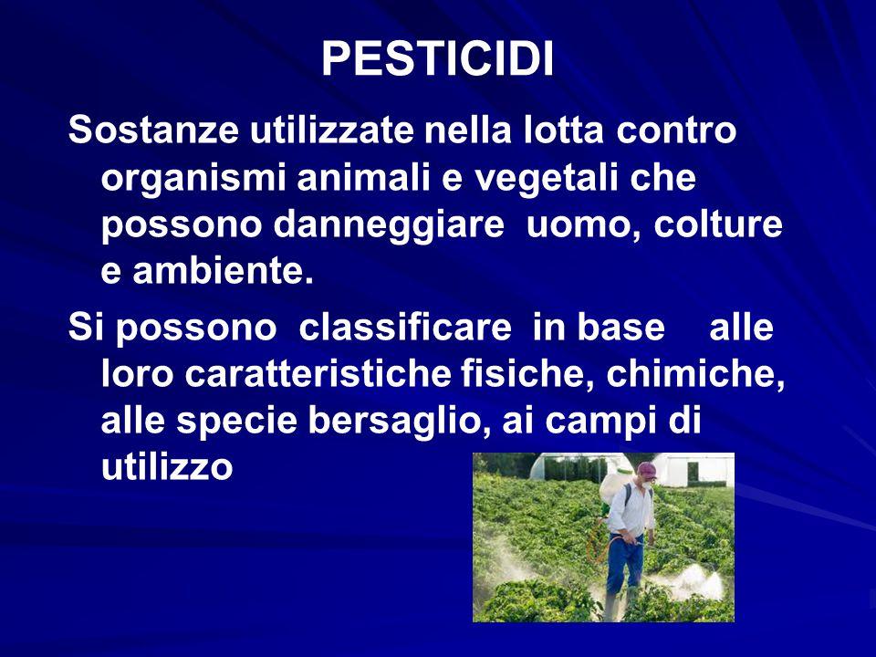 PESTICIDI Sostanze utilizzate nella lotta contro organismi animali e vegetali che possono danneggiare uomo, colture e ambiente.