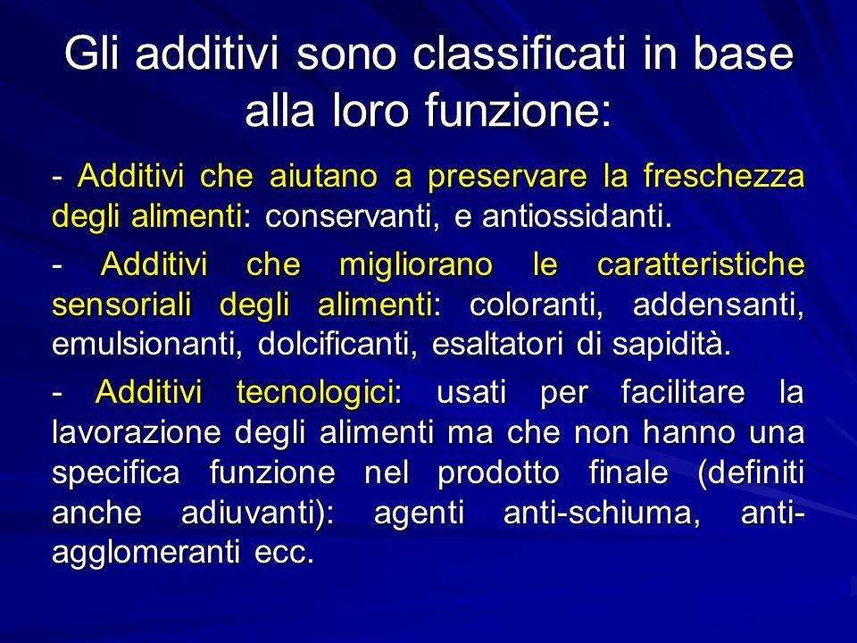 Gli additivi sono classificati in base alla loro funzione: