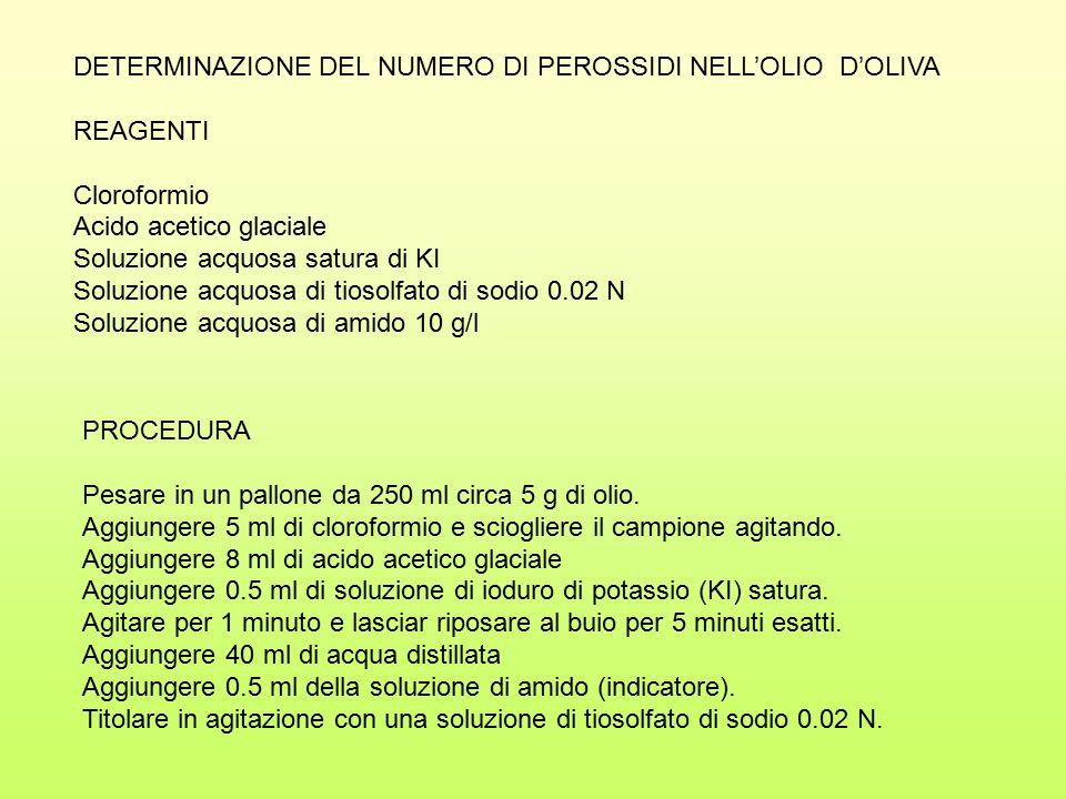 DETERMINAZIONE DEL NUMERO DI PEROSSIDI NELL'OLIO D'OLIVA
