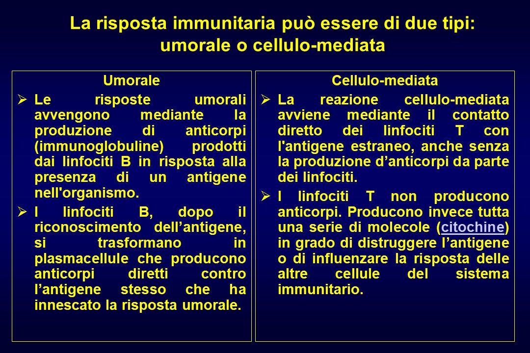 La risposta immunitaria può essere di due tipi: umorale o cellulo-mediata