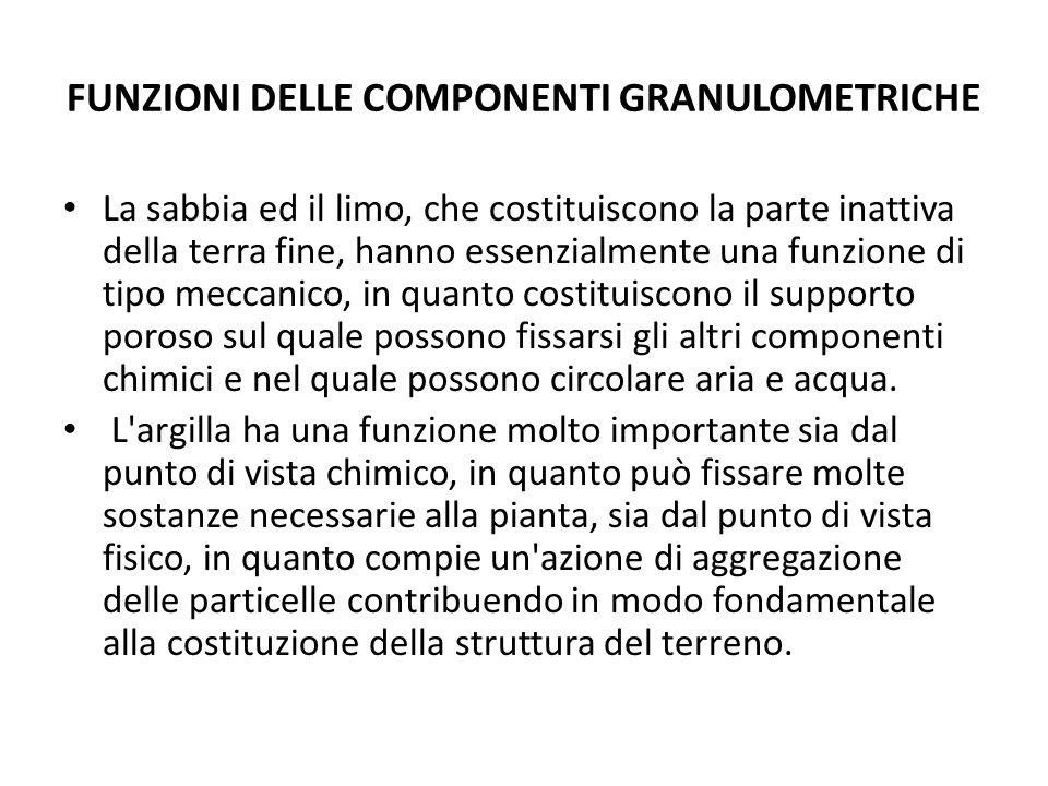 FUNZIONI DELLE COMPONENTI GRANULOMETRICHE