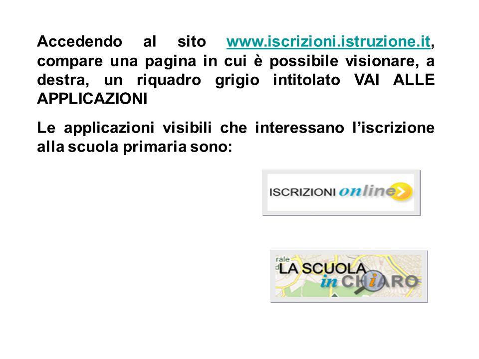 Accedendo al sito www. iscrizioni. istruzione