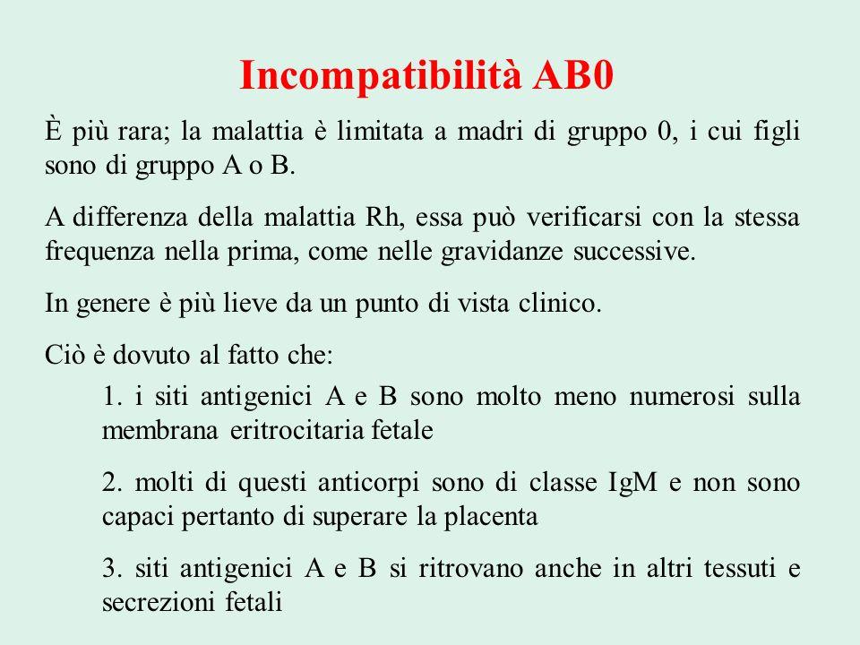 Incompatibilità AB0 È più rara; la malattia è limitata a madri di gruppo 0, i cui figli sono di gruppo A o B.