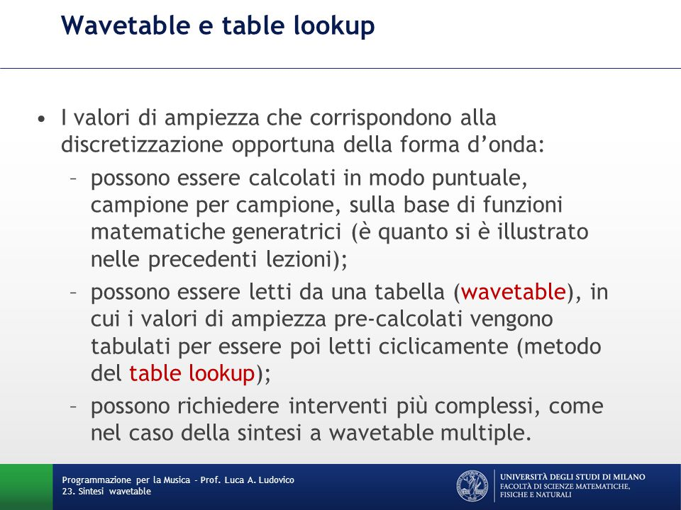 Wavetable e table lookup