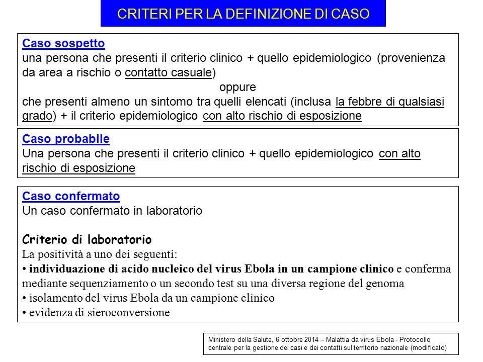 CRITERI PER LA DEFINIZIONE DI CASO