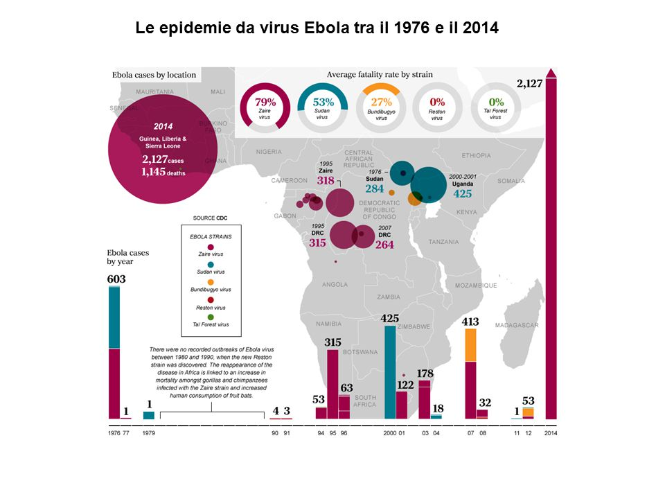 Le epidemie da virus Ebola tra il 1976 e il 2014