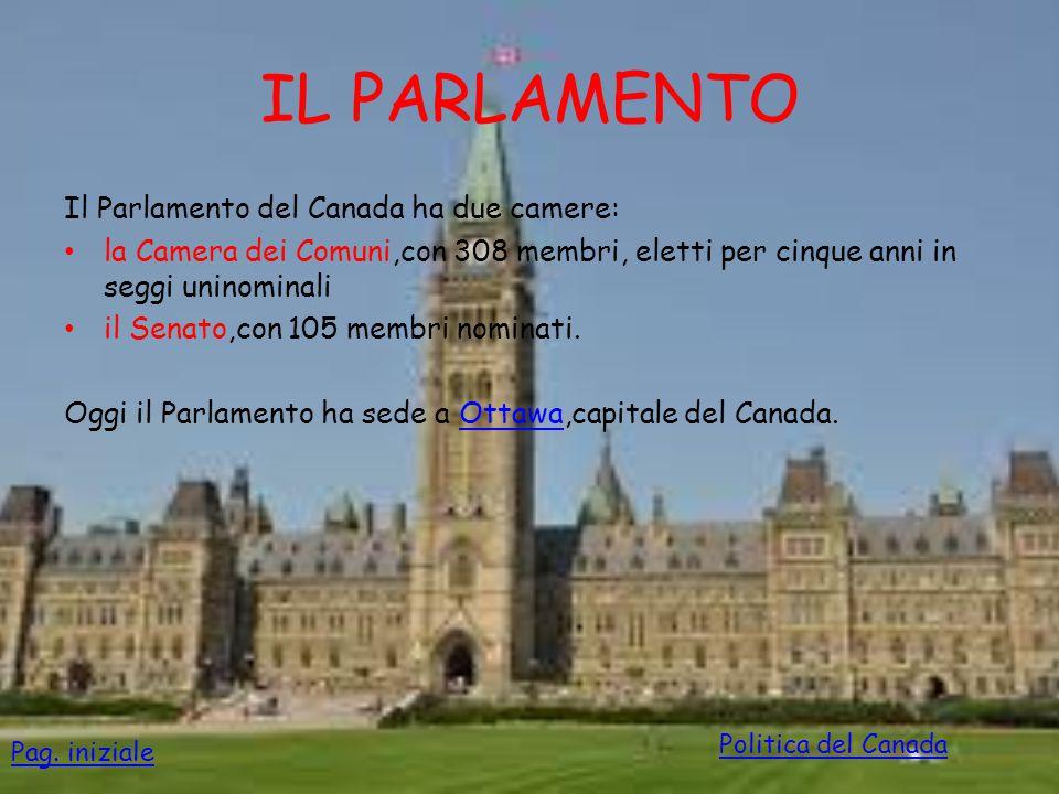 IL PARLAMENTO Il Parlamento del Canada ha due camere:
