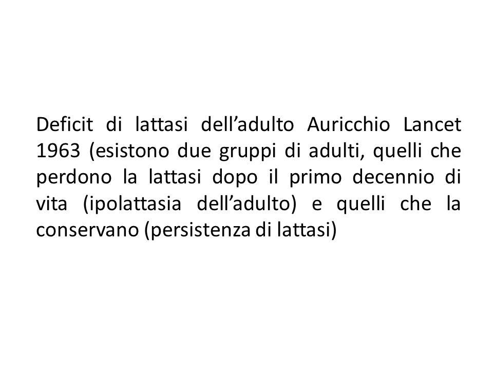 Deficit di lattasi dell'adulto Auricchio Lancet 1963 (esistono due gruppi di adulti, quelli che perdono la lattasi dopo il primo decennio di vita (ipolattasia dell'adulto) e quelli che la conservano (persistenza di lattasi)