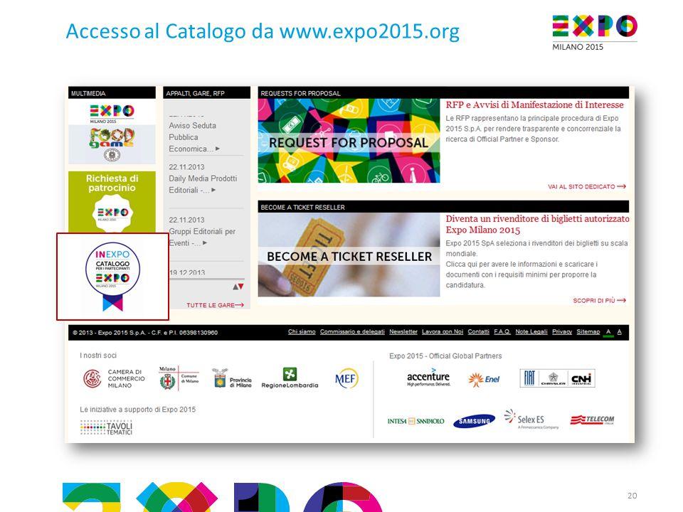 Accesso al Catalogo da www.expo2015.org