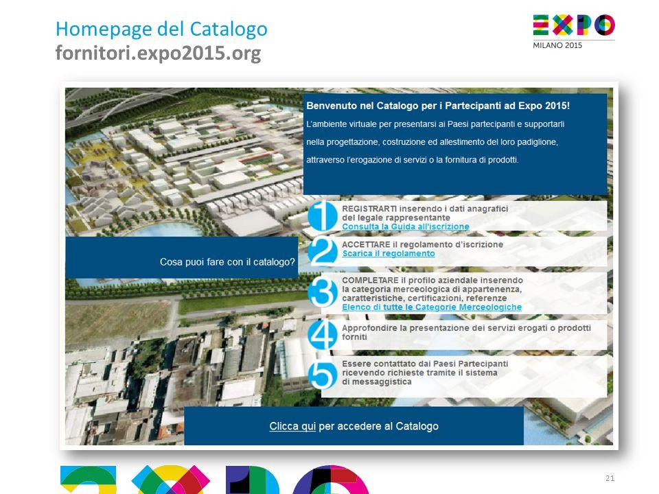 Homepage del Catalogo fornitori.expo2015.org