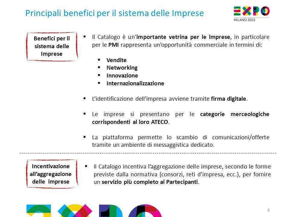 Principali benefici per il sistema delle Imprese