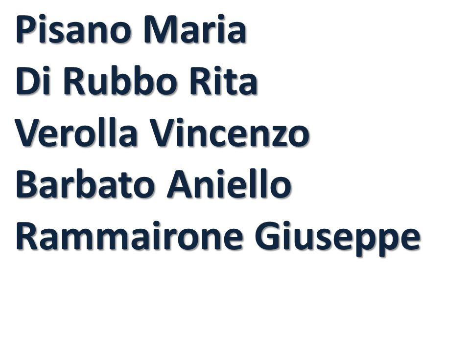 Pisano Maria Di Rubbo Rita Verolla Vincenzo Barbato Aniello Rammairone Giuseppe